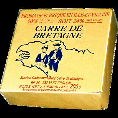 Fromage au lait pasteurisé CARRE DE BRETAGNE, 24% de MG, 200g