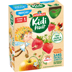 Gourdes kidifruit fraise ANDROS, 4x85g