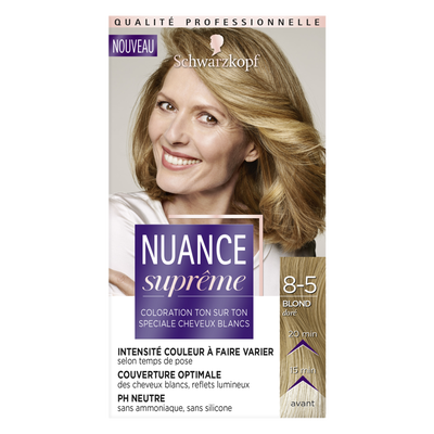 Coloration ton sur ton blond doré 8-5 NUANCE SUPRÊME