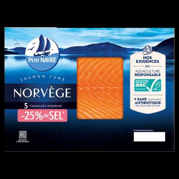 Petit Navire Saumon Fumé Atlantique Élevé Norvège -25% De Sel Petit Navire 5 Tranches Mini 150g
