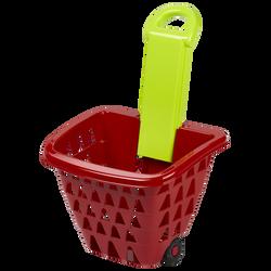 Chariot supermarché Ecoiffier-rempli de provisions:boîte oeufs+boîtecéréales chocolat+raisin+baguette pain-pour faire comme les grands+18mois