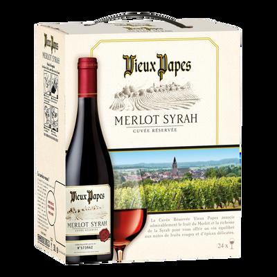 Vin rouge d'Espagne merlot VIEUX PAPES, fontaine à vin de 3l