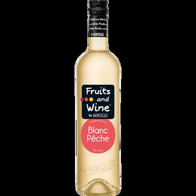 Boisson à base de vin blanc pêche FRUITS & WINE, bouteille de 75cl