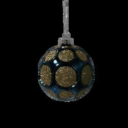 Boule suspension en verre 8cm bleu et or