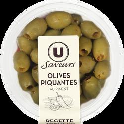 Olives vertes piquantes avec poivrons et piment U SAVEURS, 150g