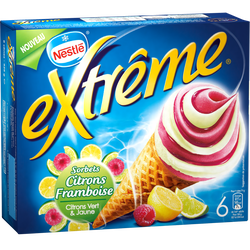 Glace sorbets citron framboise EXTREME, 6x71g soit 426g