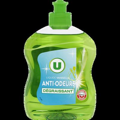 Liquide vaisselle dégraissant anti-odeurs U, flacon de 500ml