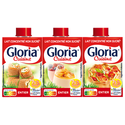 Lait entier concentré non sucré GLORIA, 7,5%MG, 3x20cl