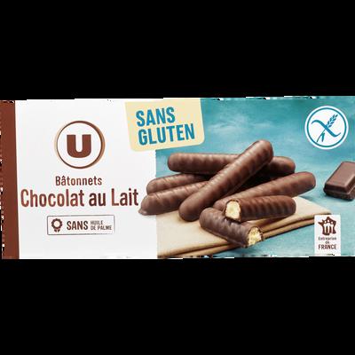 Bâtonnets chocolat lait U SANS GLUTEN, 125g