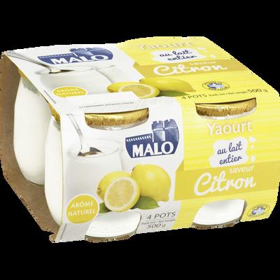 Yaourt au lait entier saveur citron MALO, pot en verre 4x125g