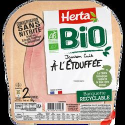 Jambon cuit à l'étouffée BIO conservation sans nitrite HERTA, 2 tranches, 60g
