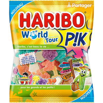 Confiserie gélifiée acidifiée world tour pik HARIBO, 200g