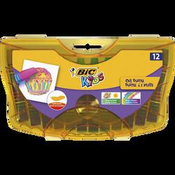 Pastels à l'huile Kids BIC, 12 unités, coloris assortis, en étui plastique réutilisable