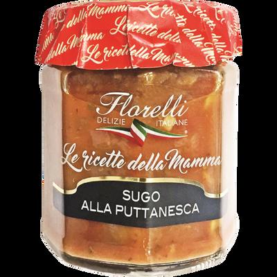 Sauce Puttanesca tomate aux olives et aux câpres FLORELLI, 200g