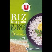 Riz long grain étuvé 10 minutes U, étui de 5 sachets cuisson, 200g