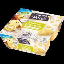 Dessert de fruits sans sucre ajouté morceaux pommes yuzu CHARLES&ALICE, 4 pots x97g