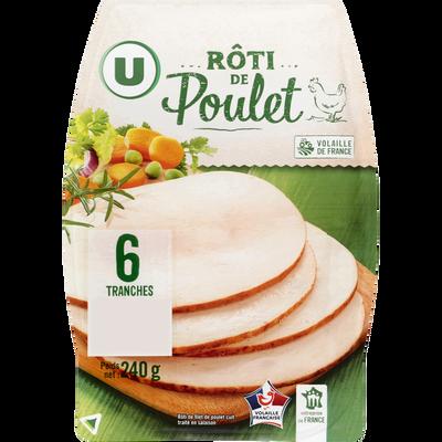 Rôti poulet tranchés U, 6 tranches, 240g