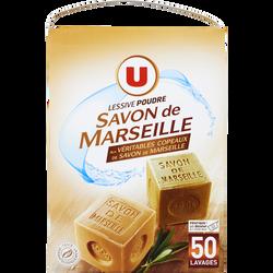 Lessive poudre au savon de Marseille U, 50 lavages soit 2,750kg