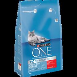 Croquettes pour chat adulte stérilisé au b uf et blé Purina ONE, 3kg