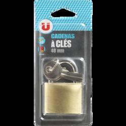 Cadenas en laiton U avec 3 clés, 40mm, sous blister