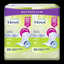 Serviettes pour incontinence discreet mini TENA LADY, 2 paquets de 20unités