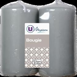 Bougies U MAISON, non parfumées, 48x90mm, grises, 2 unités