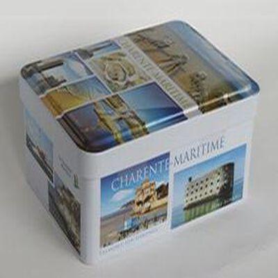 """Galettes Charentaises, mini boite métal 120gr thème """"Charentes-Maritime"""", La Galette Luzacaise"""