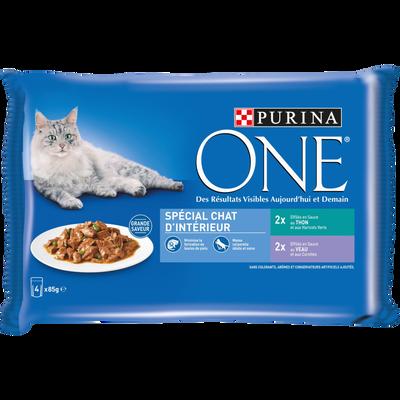 Sachets fraîcheur pour chat adulte d'intérieur effilés de thon et de veau PURINA ONE, 4x85g