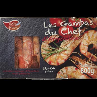 Crevettes sauvages entières crues géantes tigrées GOLFO NUEVO, 16/24 pièces, boîte de 800g