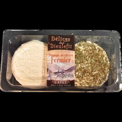 Délices fermier lait cru chèvre, 21%MG, crémeux+sarriette Cavet 2x100g