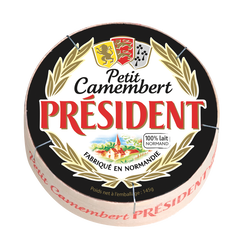 Petit camembert lait pasteurisé PRESIDENT, 20%mg, Boîte de 145g