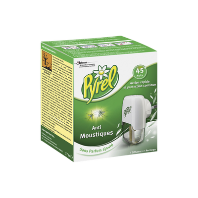 Diffuseur électrique + recharge liquide insecticide PYREL, 45 nuits