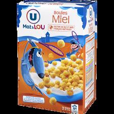 Boules de céréales au miel U MAT ET LOU, 750g