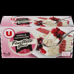 Feuilleté glacé vanille fruits rouges U, 370g