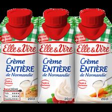 Crème UHT entière ELLE & VIRE, 30% de MG, brique de 3x20cl
