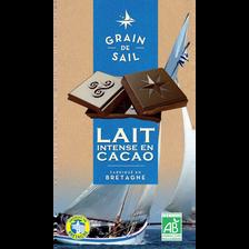 Tablette de Chocolat au lait intense en cacao Bio GRAIN DE SAIL, 100g
