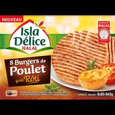 Burger de poulet goût rôti halal ISLA DELICE, 8 unités, 640g
