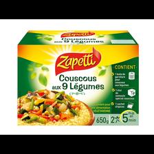 Couscous aux 9 légumes saveurs du monde ZAPETTI, boîte de 650g