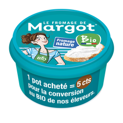 Fromage à tartiner bio nature le fromage Margot, 30%mg, pot de 125g