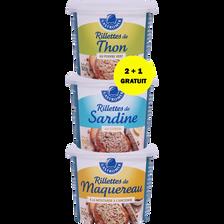 Gastromer Rillettes Thon/sardine/maquereau , X2+1 Offert, 450g