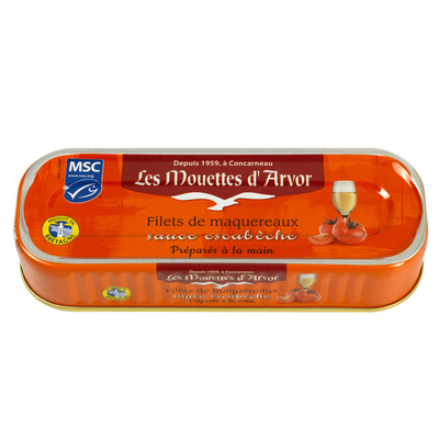 Filets maquereaux à l'escabèche, LES MOUETTES D'ARVOR, 169g