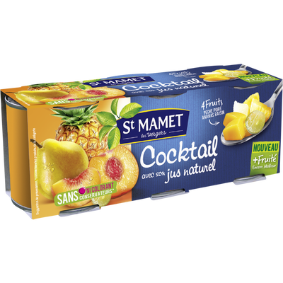 Cocktail de fruits au sirop SAINT MAMET, 3 boites soit 375g