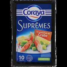 Bâtonnets suprêmes goût crabe, CORAYA, 10 bâtonnets de 156g