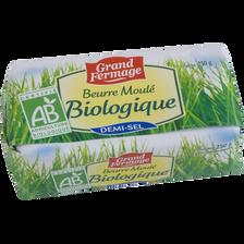 Beurre moulé BIO demi-sel GRAND FERMAGE, 80% de MG,  250g