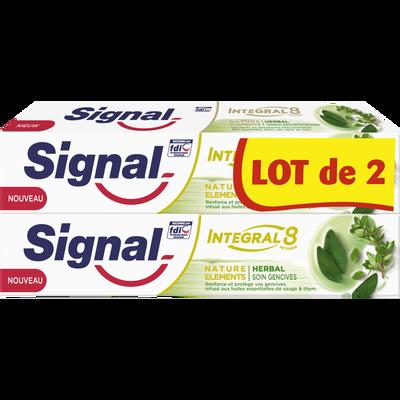 Dentifrice intégral 8 herbal soin gencives SIGNAL, 2 tubes de 75ml