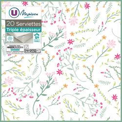 Serviette 3 plis U MAISON 40x40cm petites fleurs x20