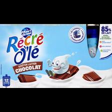 Goûters laitiers parfum chocolat RECRE OLE, 12 gourdes de 85g