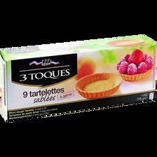 Tartelettes sablées LES 3 TOQUES, 9 pièces, 216g