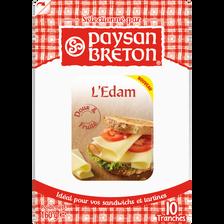 Edam au lait pasteurisé PAYSAN BRETON, 24% de MG, 10 tranchettes, 160g