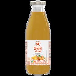 Pur jus orange et Fruits ananas pêche U, bouteille de 1l